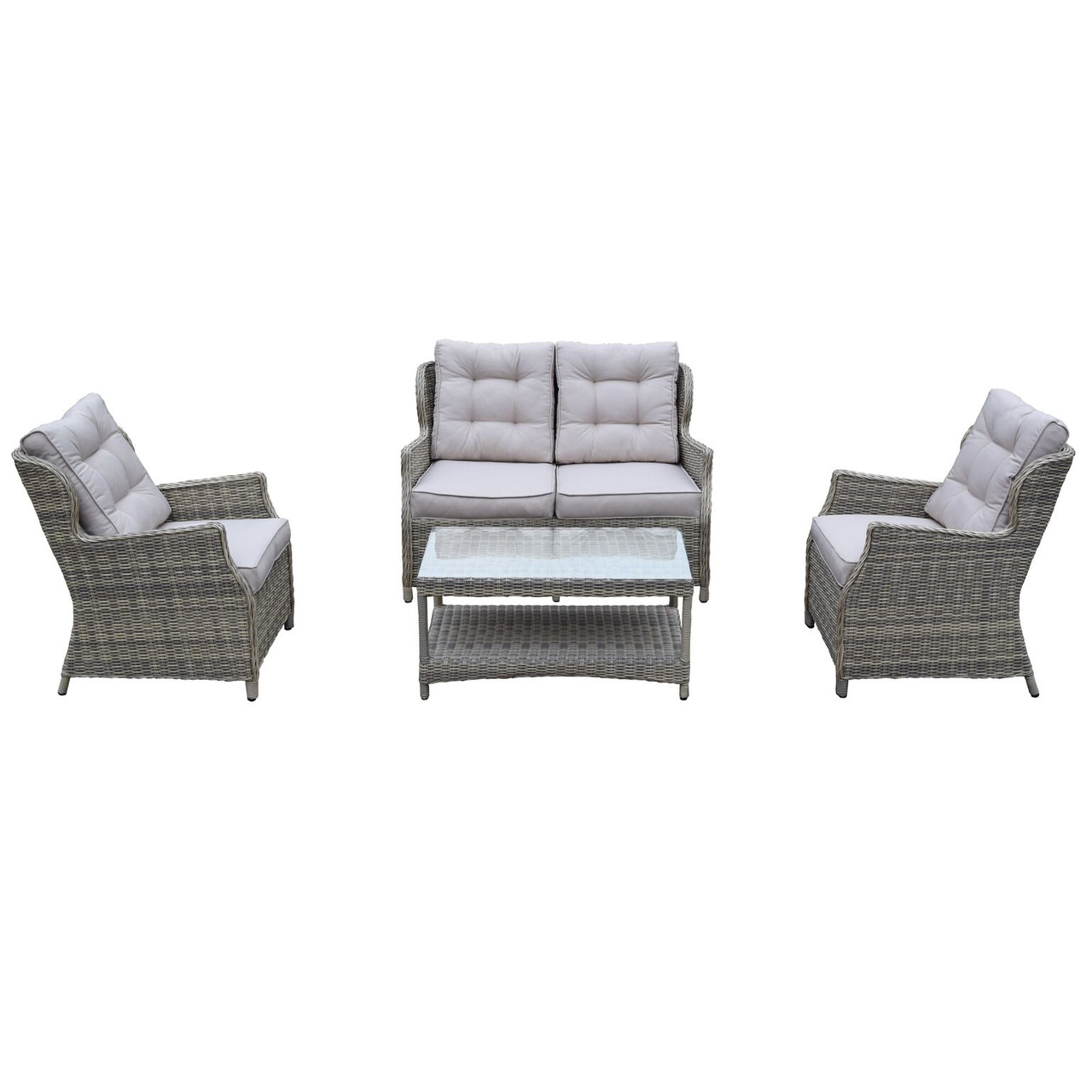 4 Piece Brown Borneo All Weather Resin Wicker Chat Set W Gray Cushions Christmas Central