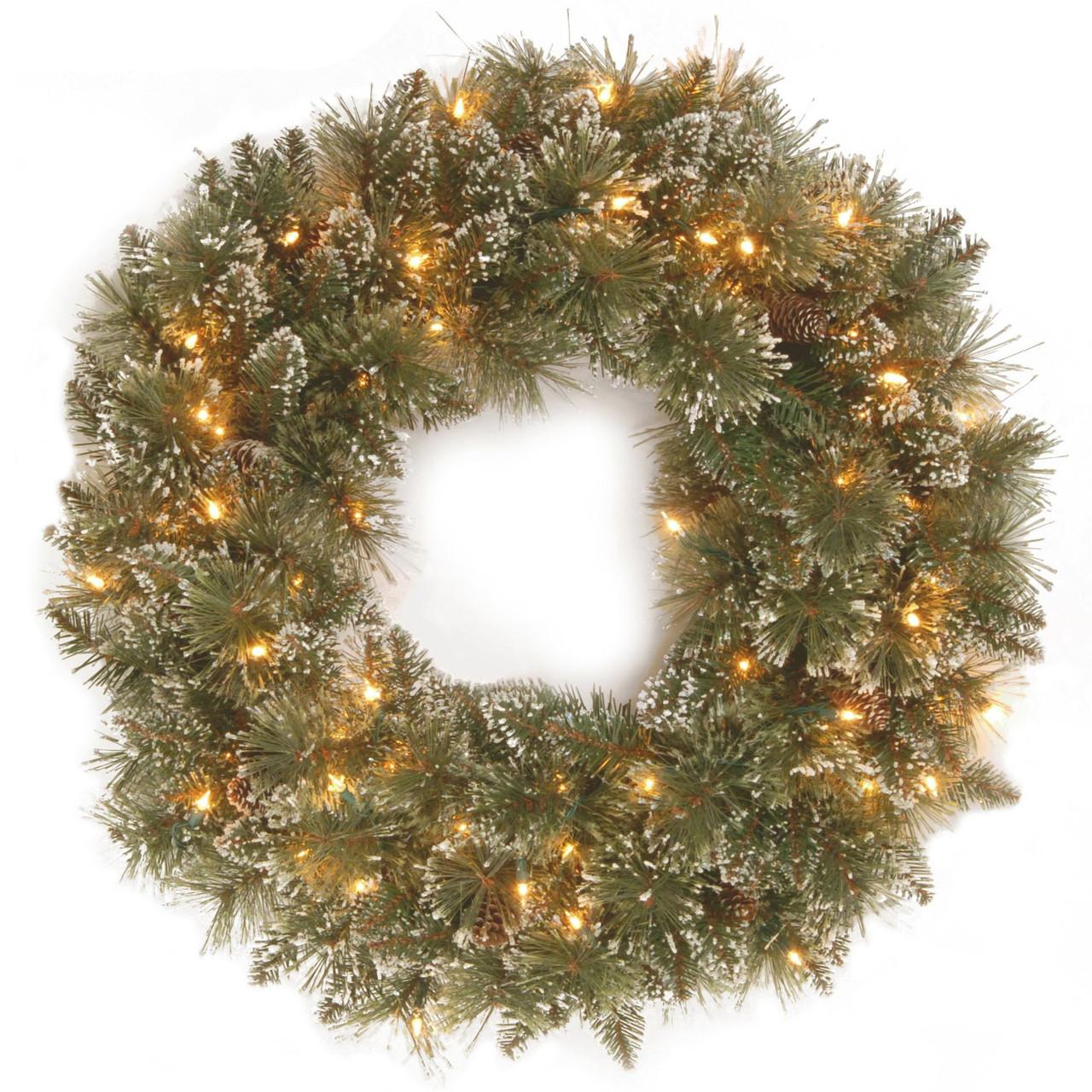 30-Inch Pre-Lit Glittery Bristle Pine Artificial Christmas Wreath Clear Lights