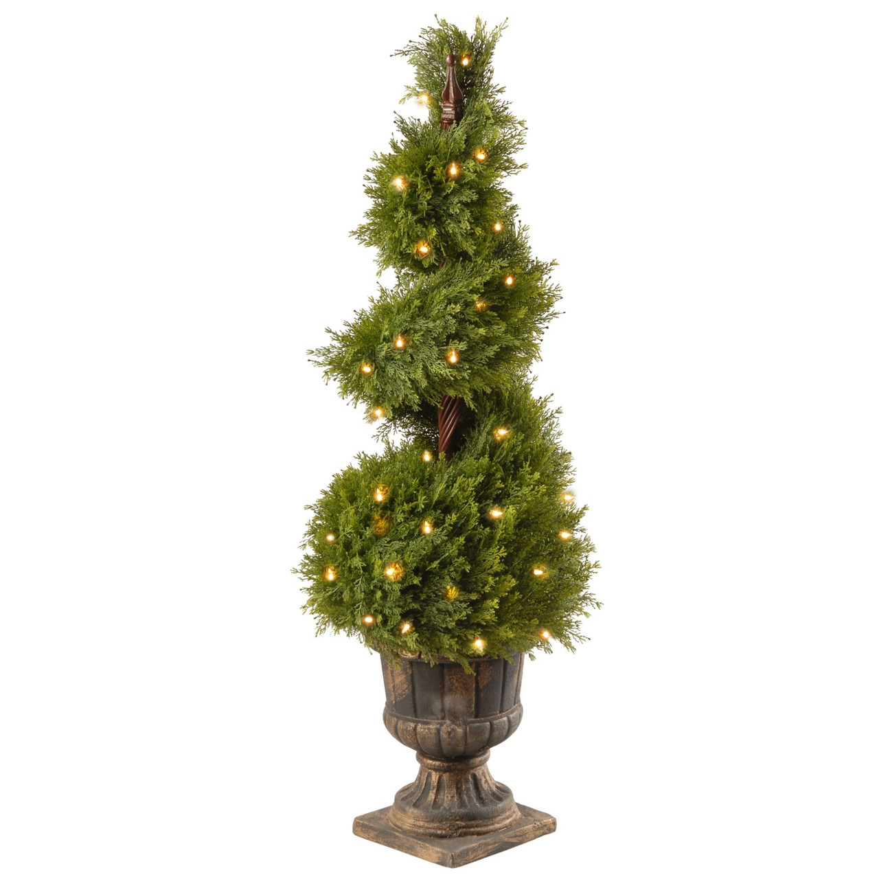 4 X 15 Pre Lit Potted Upright Juniper Spiral Artificial Christmas Tree Clear Lights Christmas Central