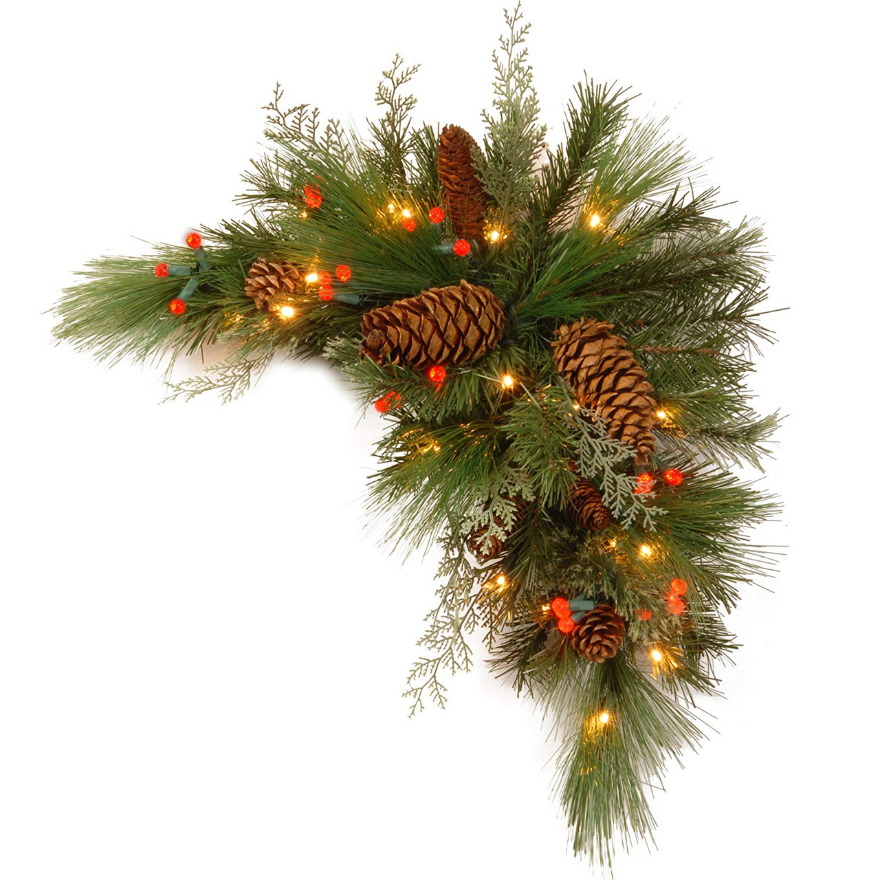 Christmas Swag.30 Pre Lit Green And Brown Artificial Pine Christmas Swag Led Lights 31103717