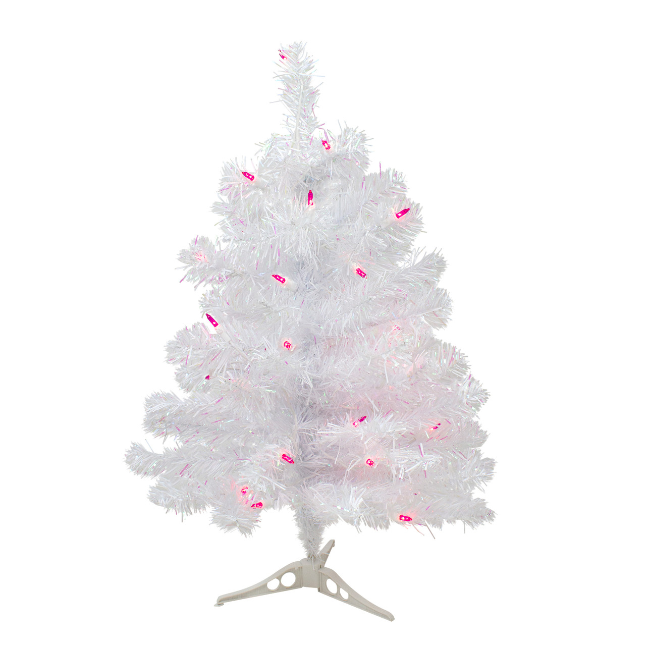 Pink Artificial Christmas Tree.2 Pre Lit White Iridescent Pine Artificial Christmas Tree Pink Lights 31465605