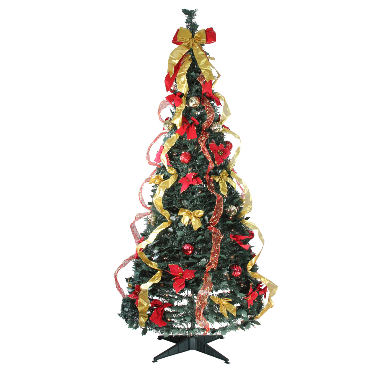 6 Pre Lit Gold Red Decorated Pop Up Artificial Christmas Tree