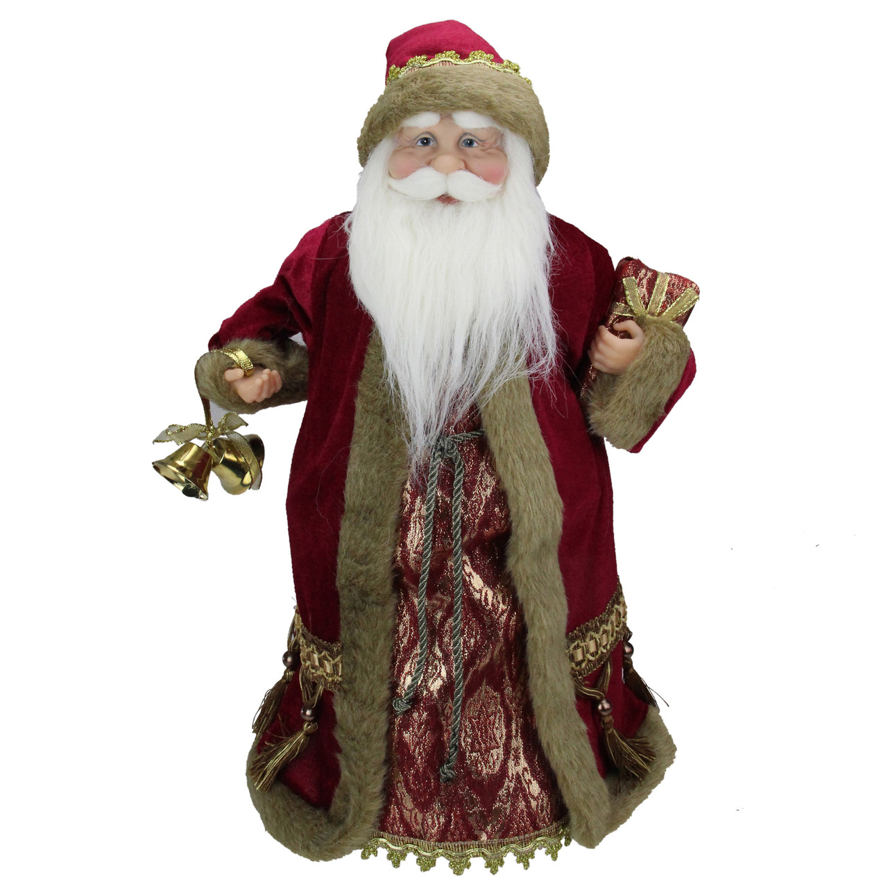 18 Gold Burgundy Red Santa Claus Holding A Gift Box Tree Topper Unlit Christmas Central