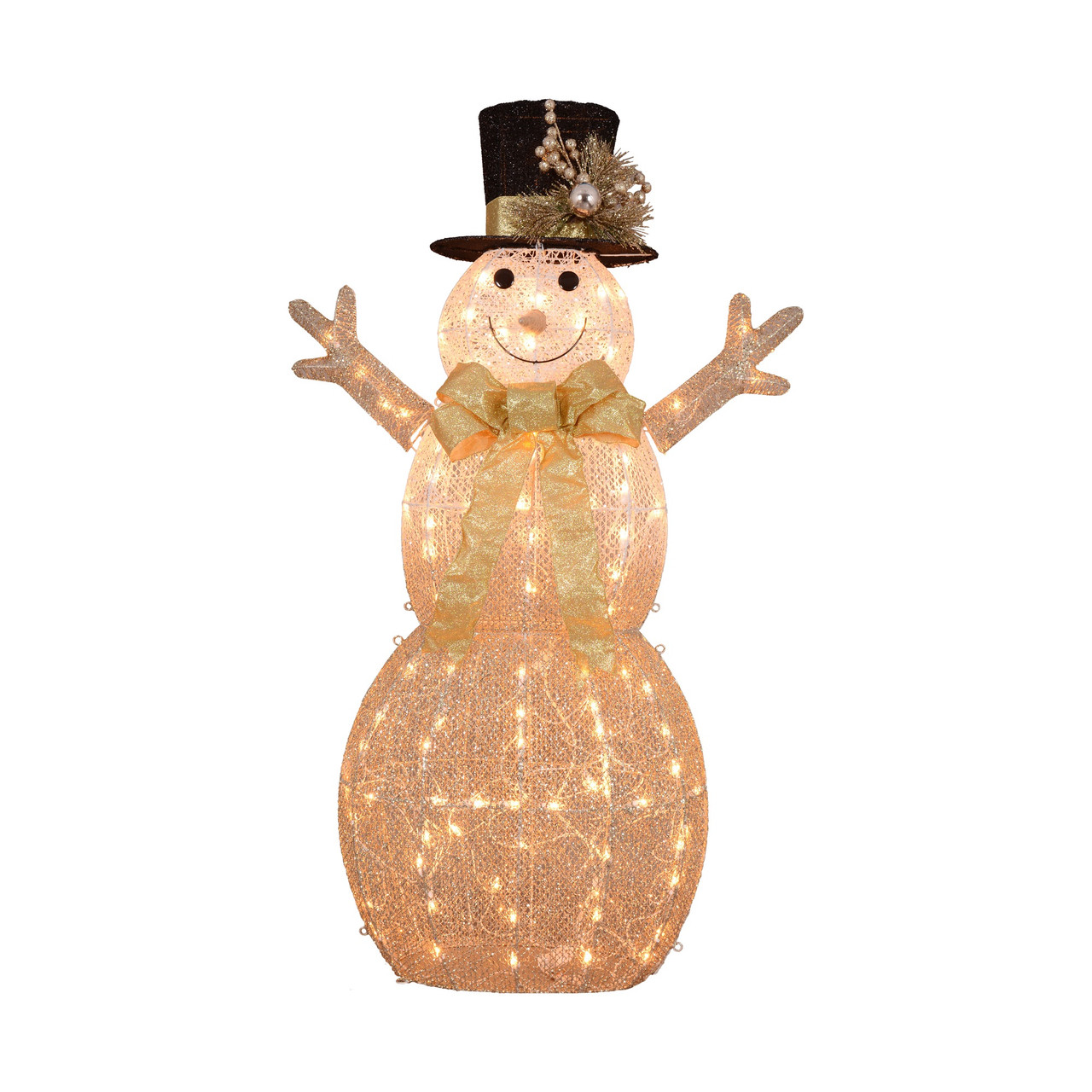 52 3d Lighted Rattan Snowman In Top Hat Christmas Outdoor Decoration Christmas Central