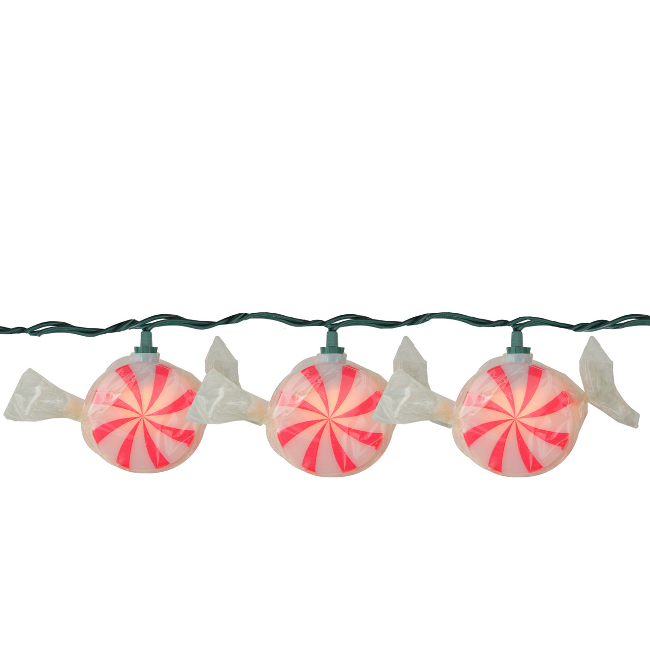 Set Of 10 Red And White Peppermint Twist Candy Christmas Lights 10 Ft Green Wire 5983702