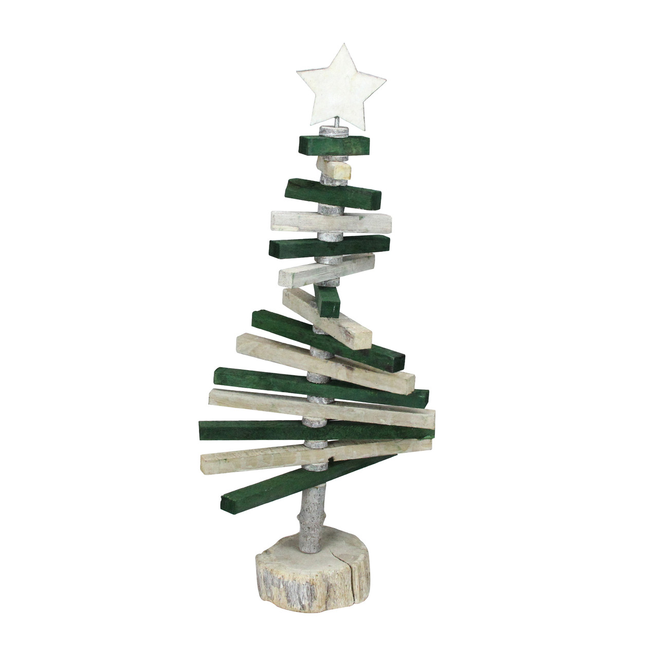 20 25 Green And Natural Wood Spiraled Table Top Christmas Tree 32913503