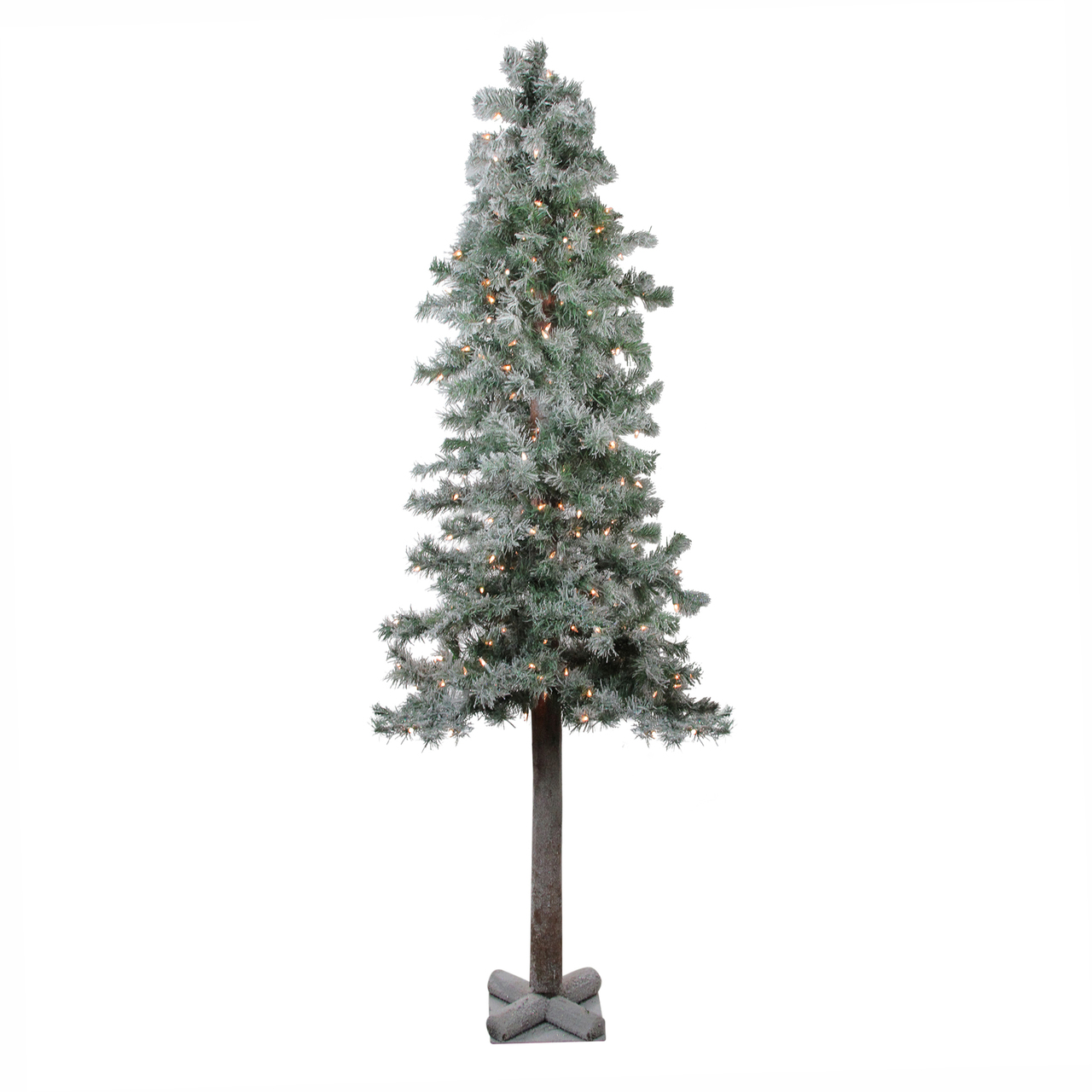 6 Lightly Flocked Glittered Woodland Alpine Artificial Christmas Tree Clear Lights Christmas Central
