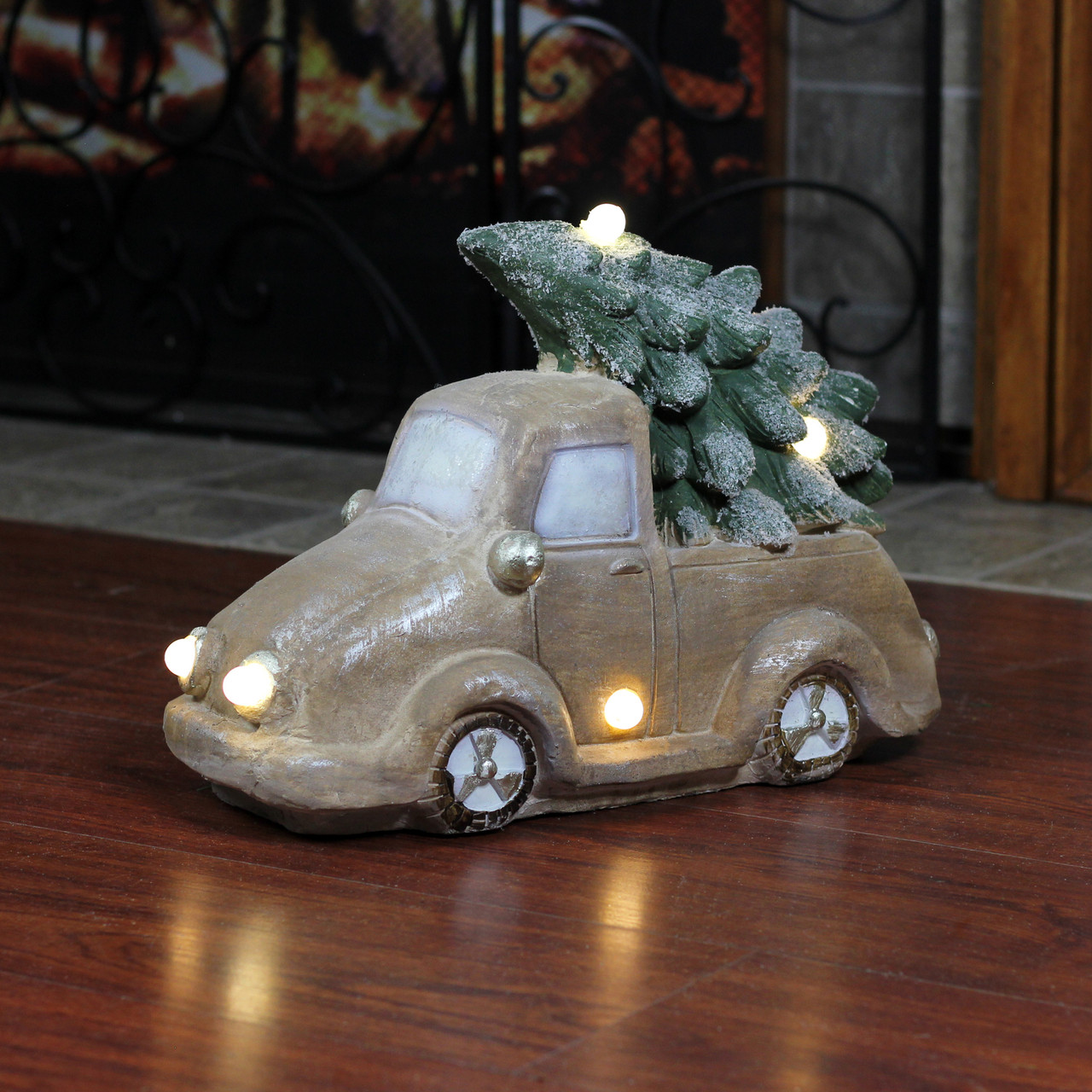15 5 Lighted Musical Vintage Truck With Christmas Tree Table Top