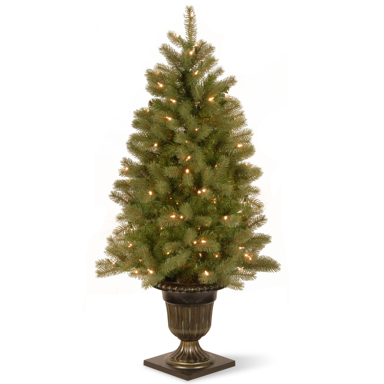 4 Pre Lit Potted Downswept Fir Artificial Christmas Tree Clear