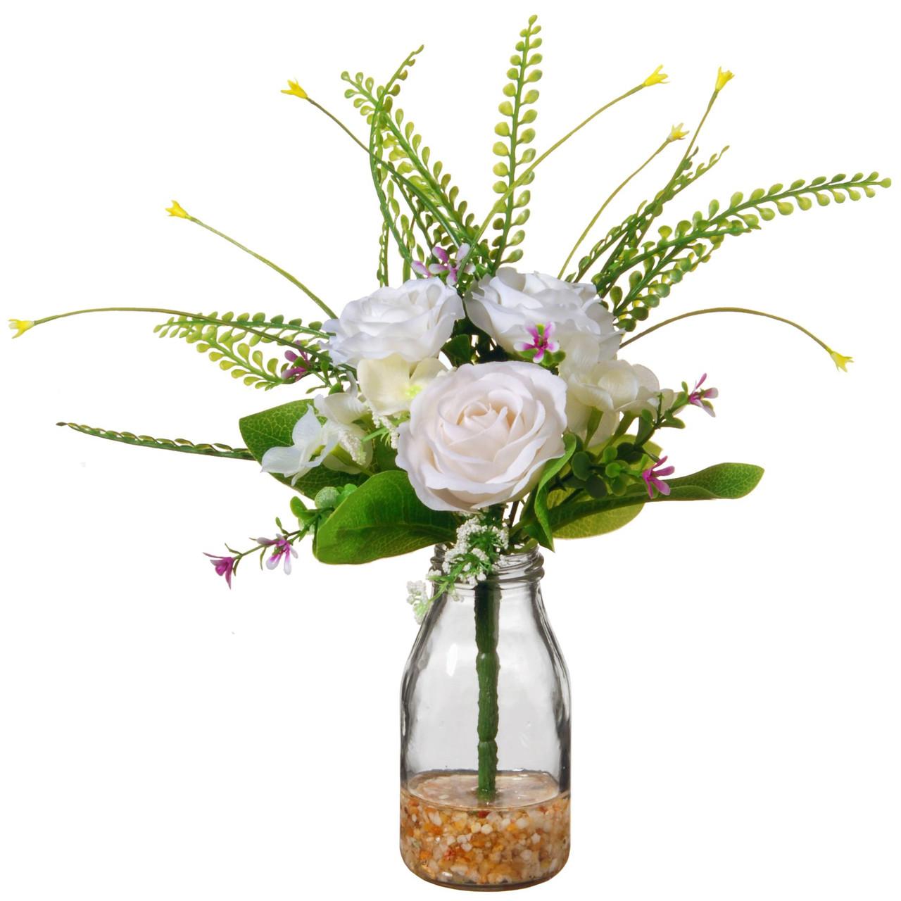 12 Artificial White Rose Flower Arrangement In Glass Vase Christmas Central