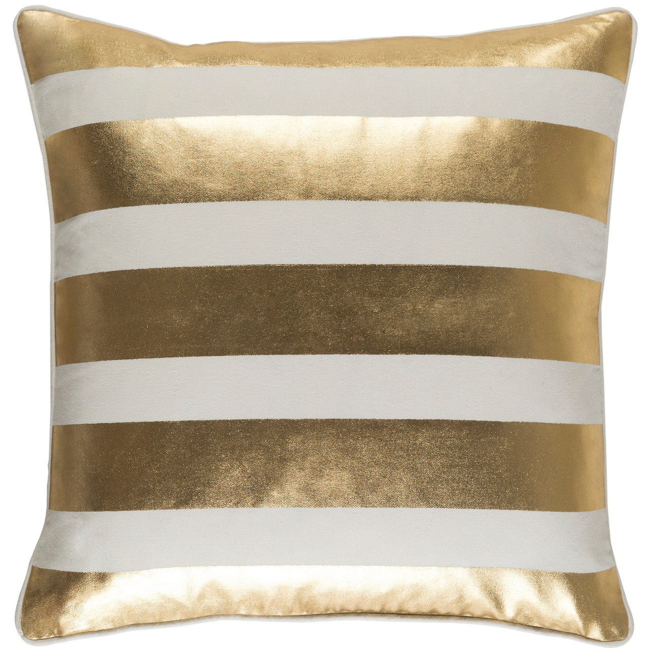 18 Cream Gold Stripe Foil Print Square Throw Pillow Poly Filled Christmas Central