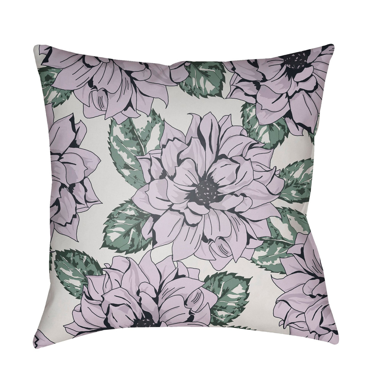 22 Purple And Green Floral Square Outdoor Throw Pillow Cover 33430064