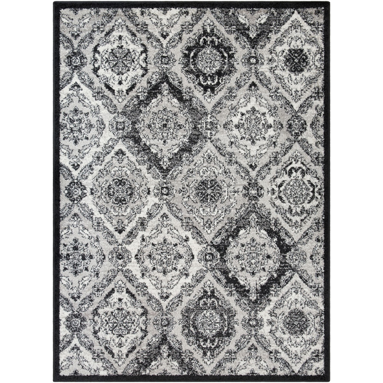 2 X 3 Black And White Distressed Finish Area Throw Rug 33428322