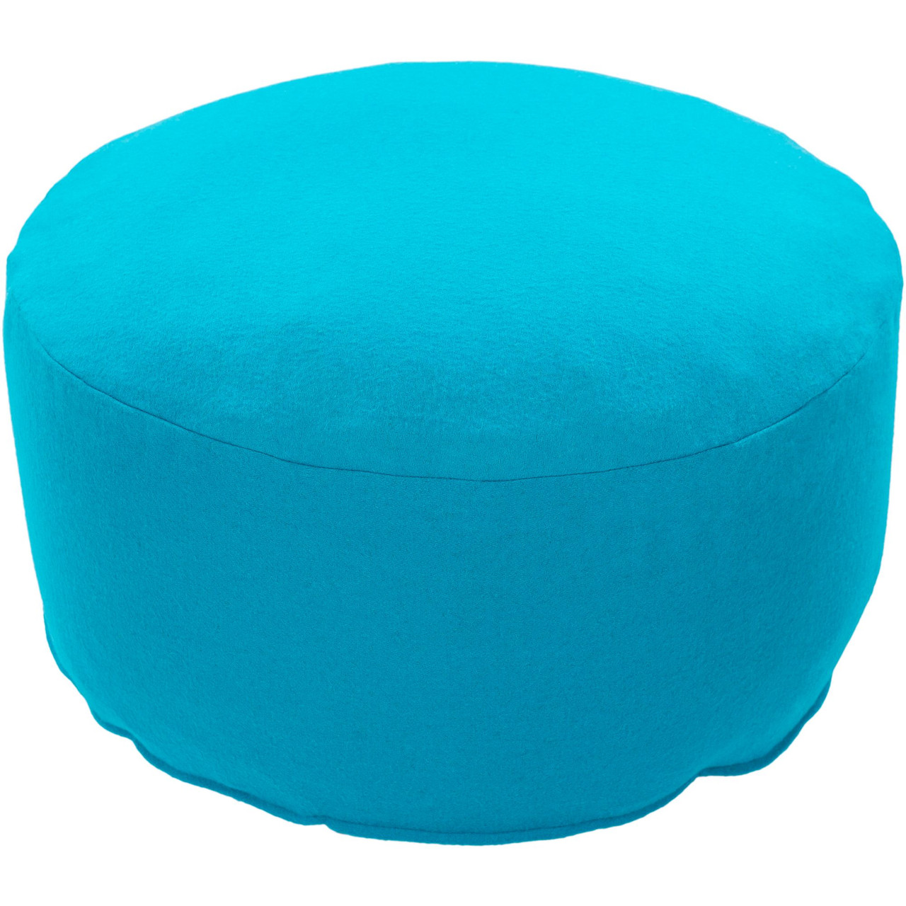 17 Aqua Blue Solid Round Wool Pouf Ottoman Christmas Central