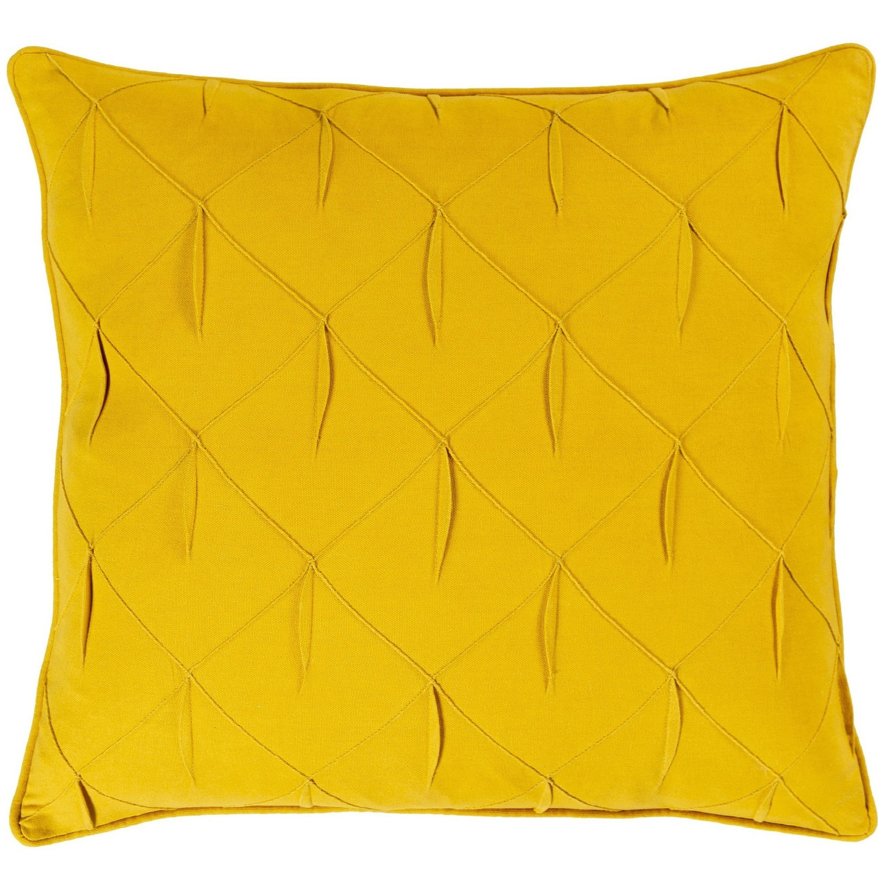 22 Yellow Textured Lattice Pattern With Fabric Manipulation Design Square Throw Pillow Cover Christmas Central