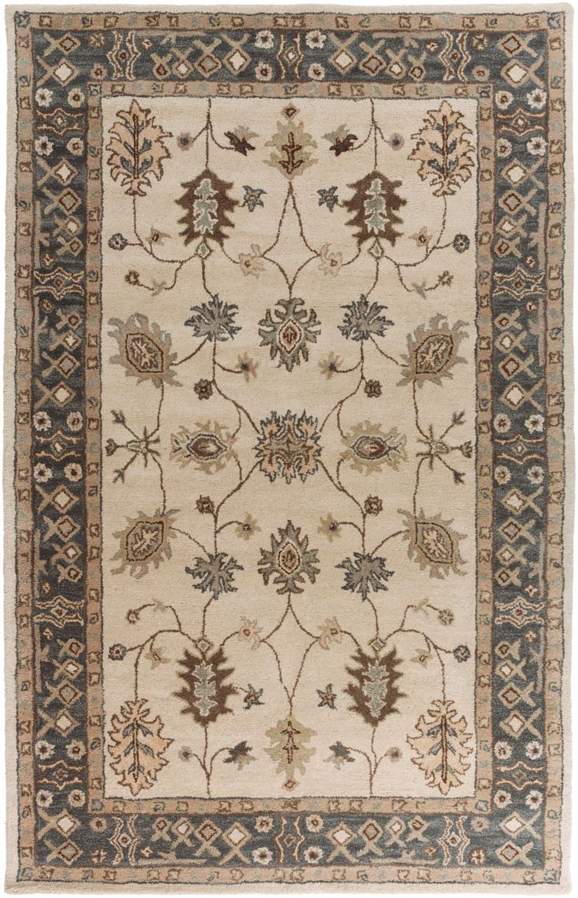 Picture of: 5 X 8 Tan Brown Teal Green Floral Patterned Rectangular Area Throw Rug Christmas Central