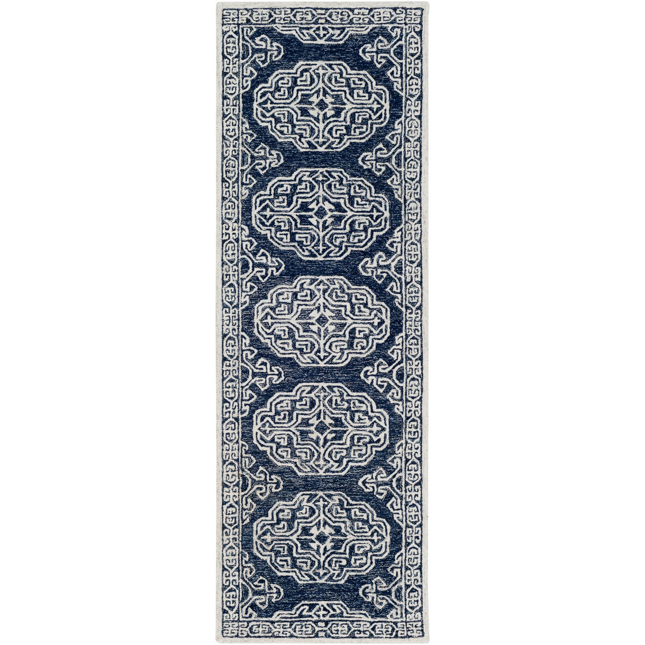 Picture of: 2 5 X 8 Contemporary Style Navy Blue Cream White Rectangular Hand Tufted Wool Area Rug Runner Christmas Central