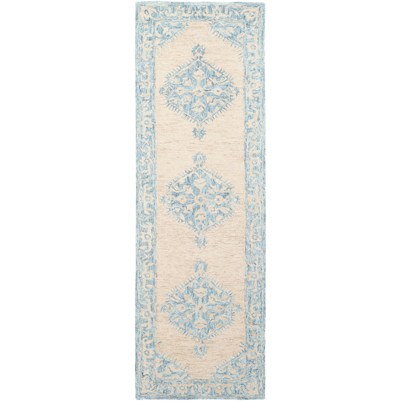 2 5 X 8 Classic Style Teal Blue Beige Rectangular Wool Area Rug Runner Christmas Central