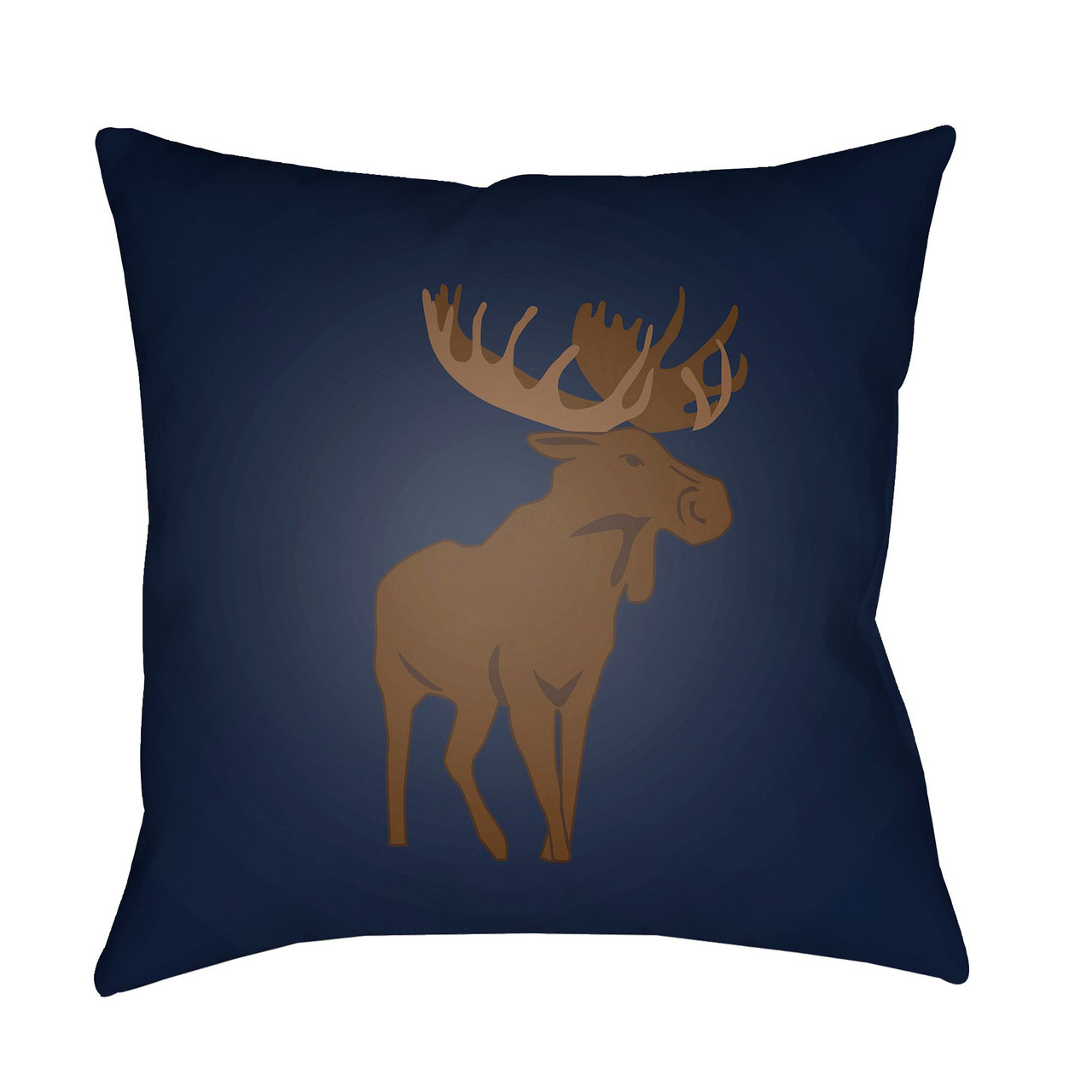 20 Brown Navy Blue Moose Printed Square Throw Pillow Cover Christmas Central