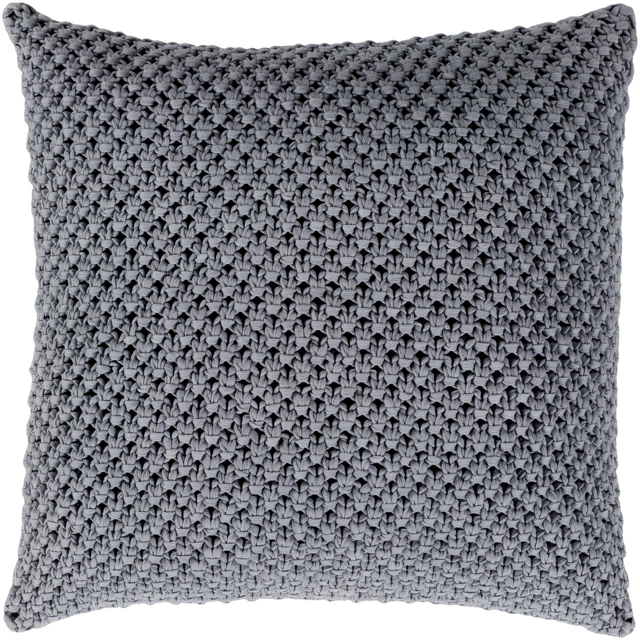 18 Coin Gray Crochet Patterned Square Throw Pillow Cover Christmas Central