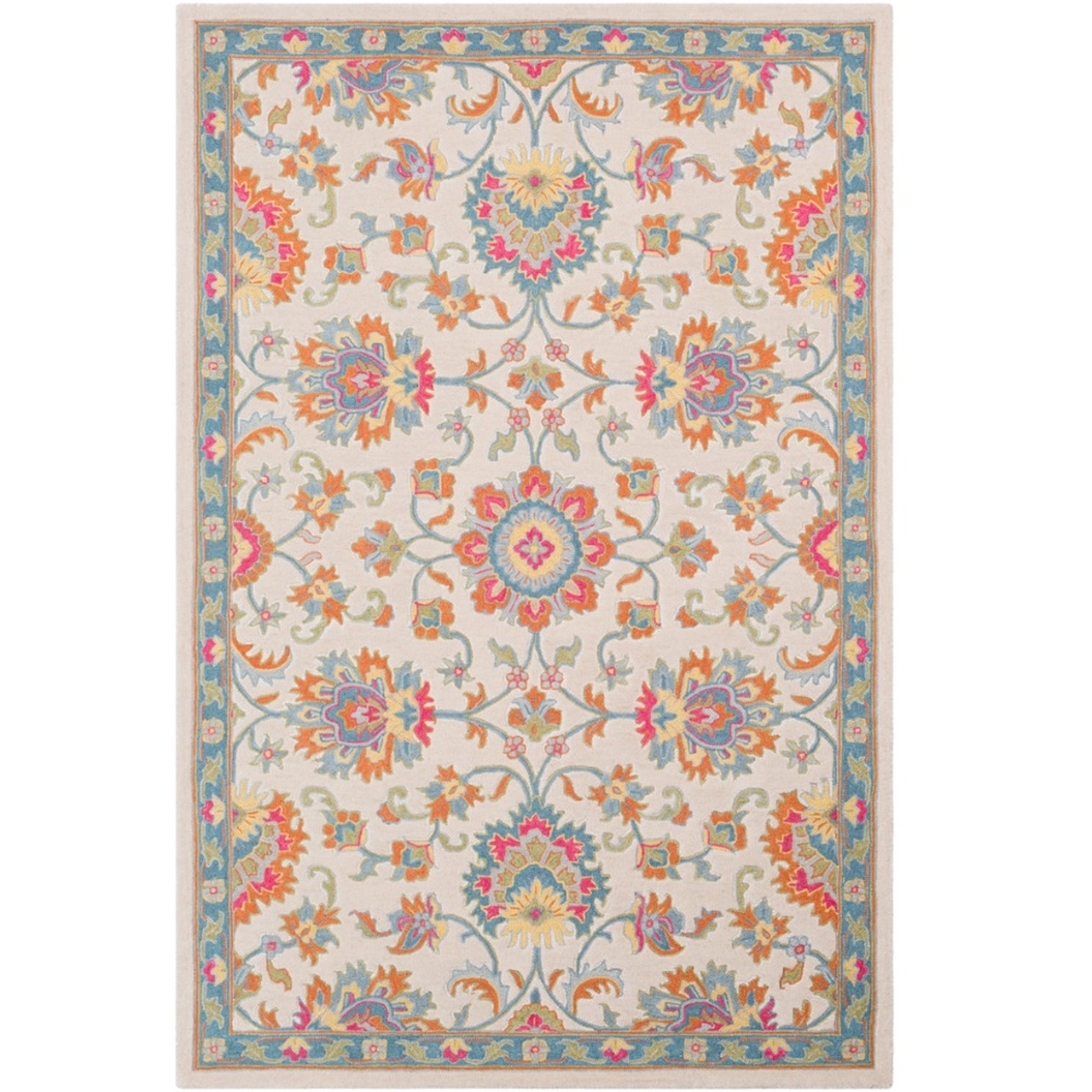 3 Beige Orange Persian Floral Pattern Hand Tufted Wool Area Rug Christmas Central