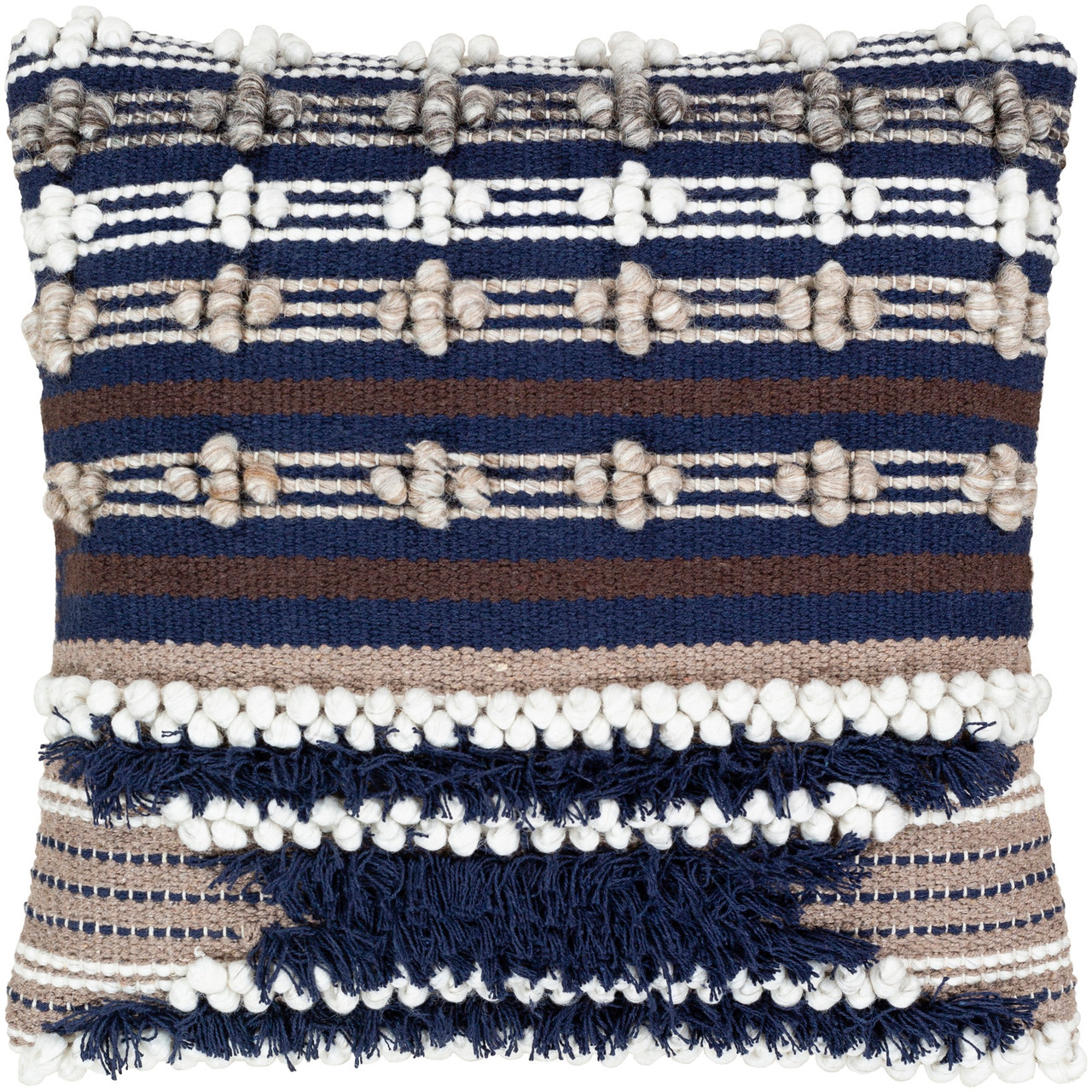 22 Navy Blue Brown With Tassels Bobbles Square Throw Pillow Cover Christmas Central