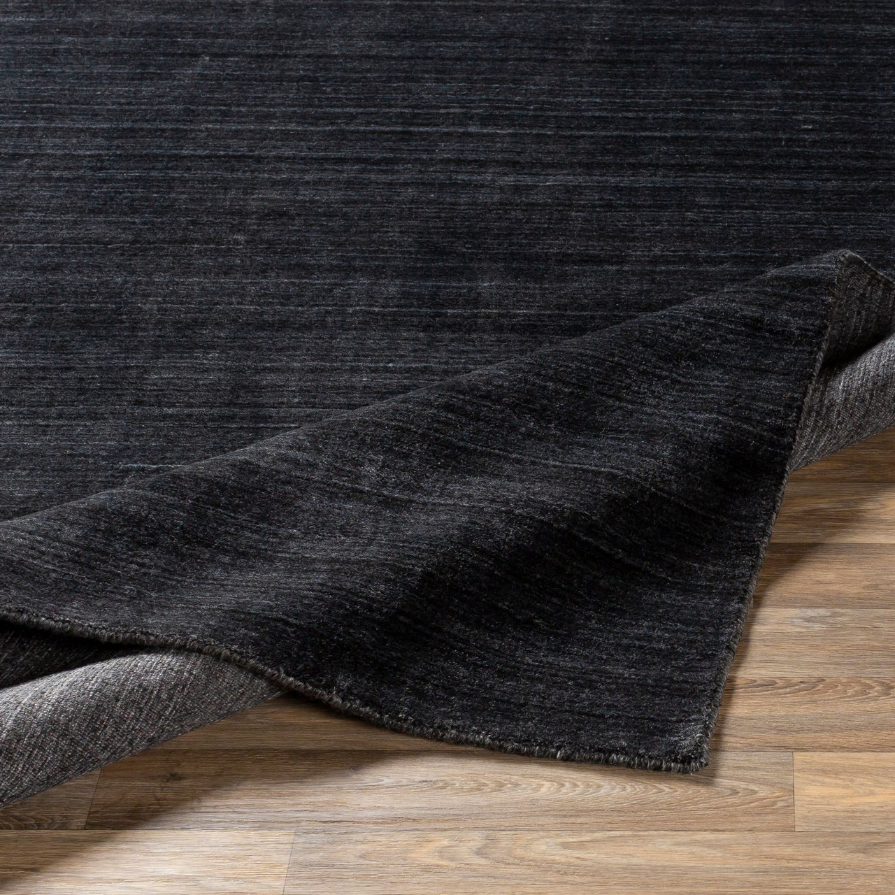 2 5 X 8 Solid Black Hand Knotted Rectangular Area Throw Rug Runner 33439086