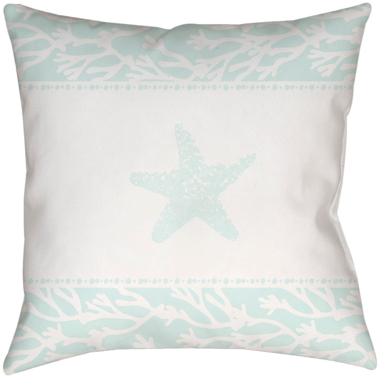 18 Pale Green White Starfish Printed Square Throw Pillow Cover Christmas Central