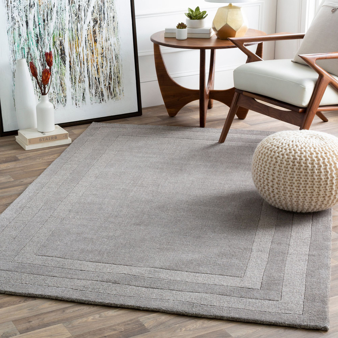 4 X 6 Gray Color Rectangular Hand Tufted Area Rug With Border