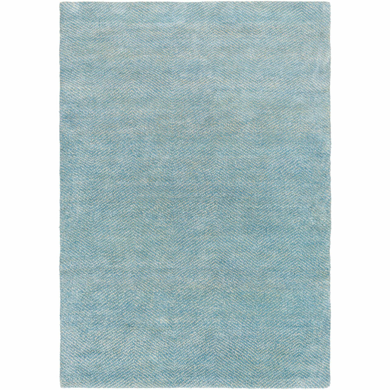 2 X 3 Line Patterned Sky Blue Light Gray Rectangular Hand Knotted Area Throw Rug Christmas Central