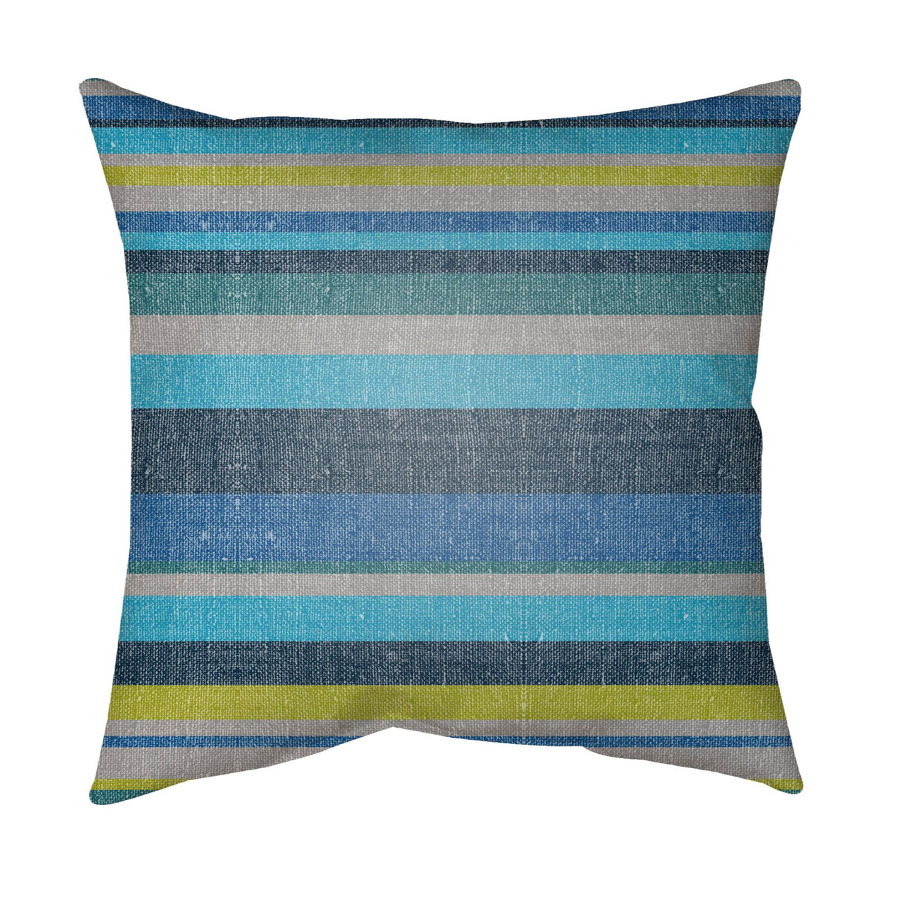 16 Olive Green Blue Striped Square Throw Pillow Cover With Knife Edge Christmas Central