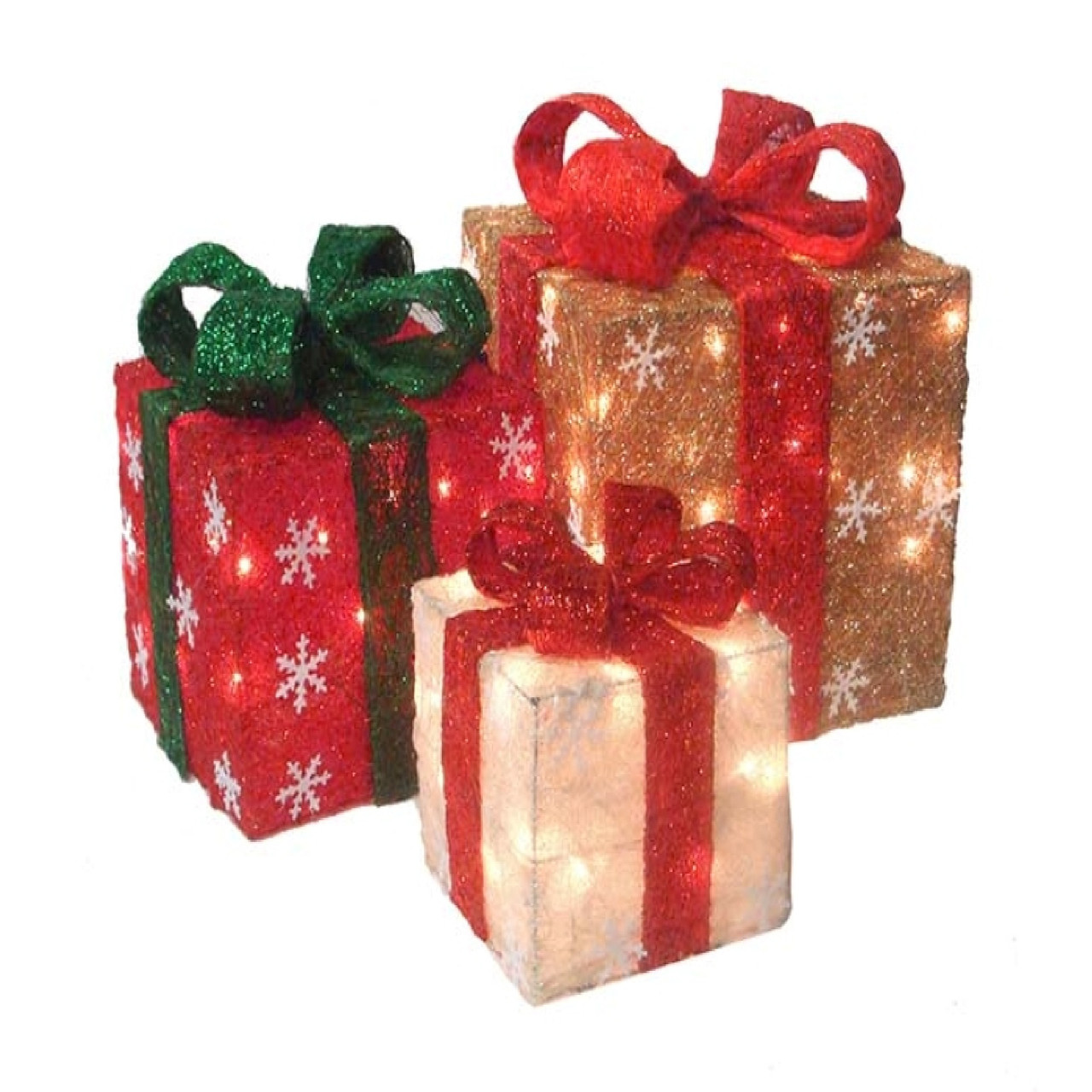 Lighted Christmas Boxes Decoration.Set Of 3 Red Gold Cream Sisal Gift Boxes Lighted Christmas Outdoor Decorations 33374627