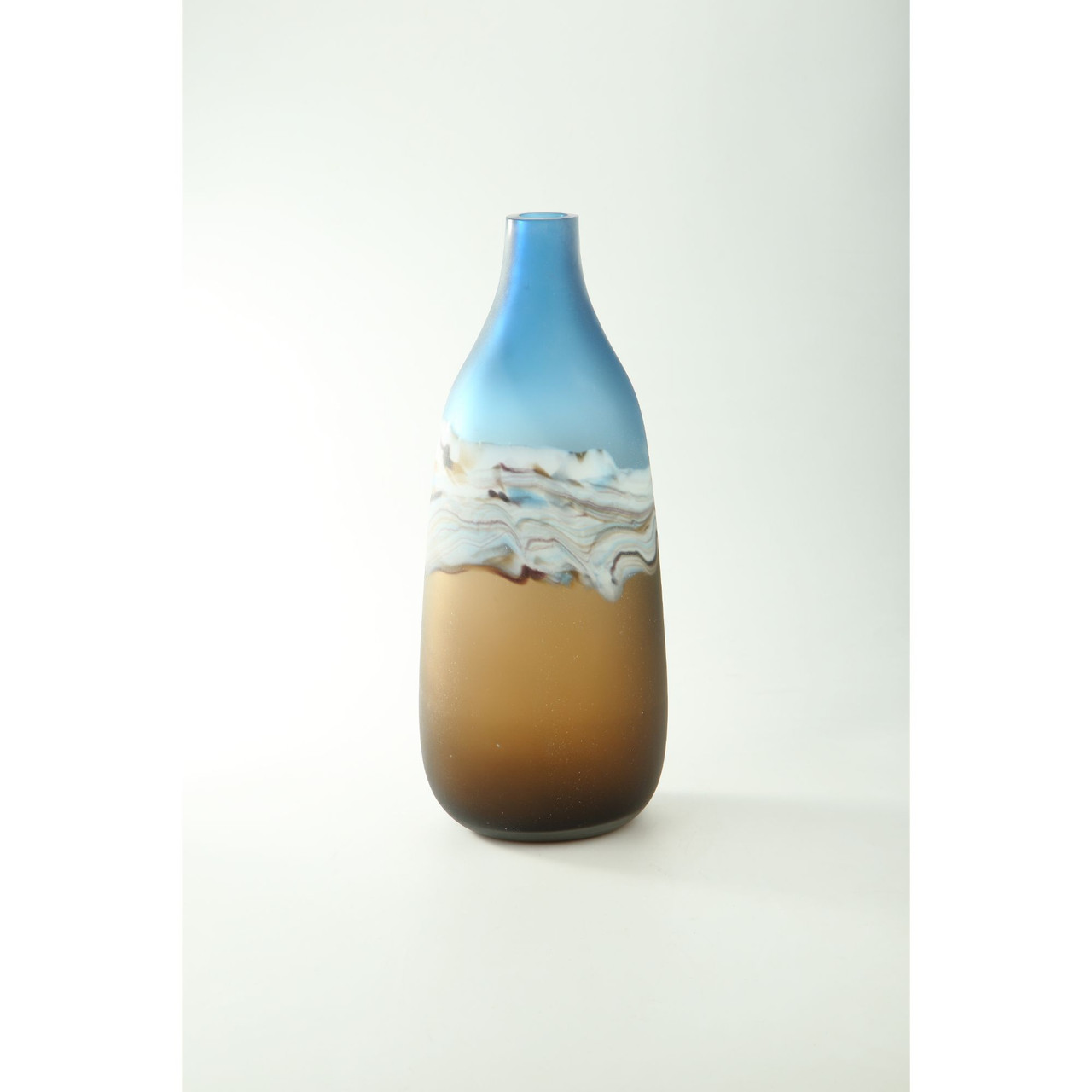 17 5 Brown Blue Ombre Hand Blown Glass Vase Christmas Central