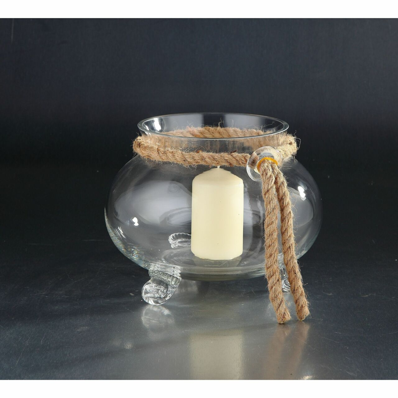 9 5 Clear Solid Hurricane Candle Holder With Jute Rope Christmas Central