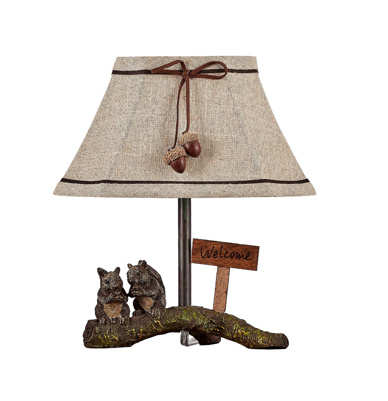 Nutty Buddies Accent Lamp With Beige Woodland Shade 12 Inch