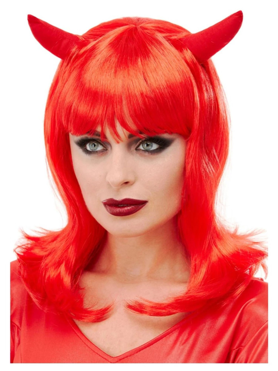 Adult Bright Red Devil Wig With Horns