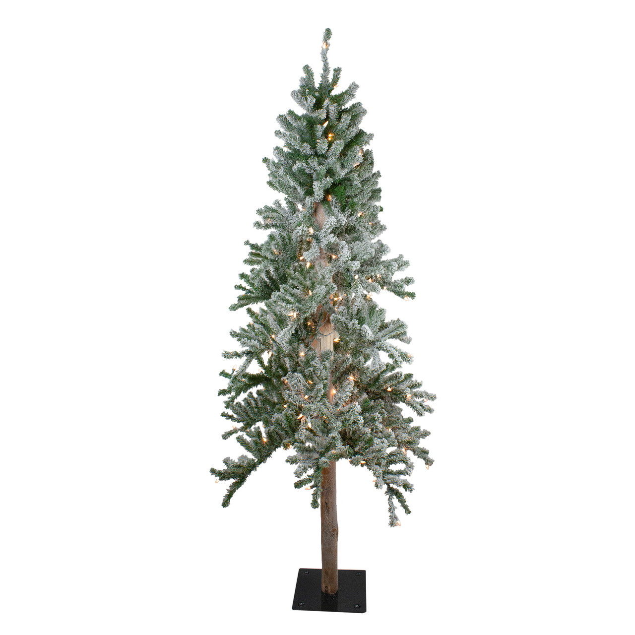 7 Pre Lit Flocked Alpine Artificial Christmas Tree W Clear Lights Christmas Central