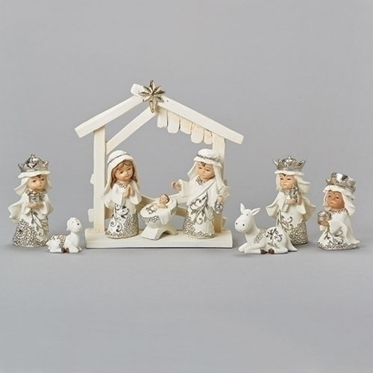 9 Piece Set White Christmas Nativity Stable Scene Figurines 6 5 Christmas Central