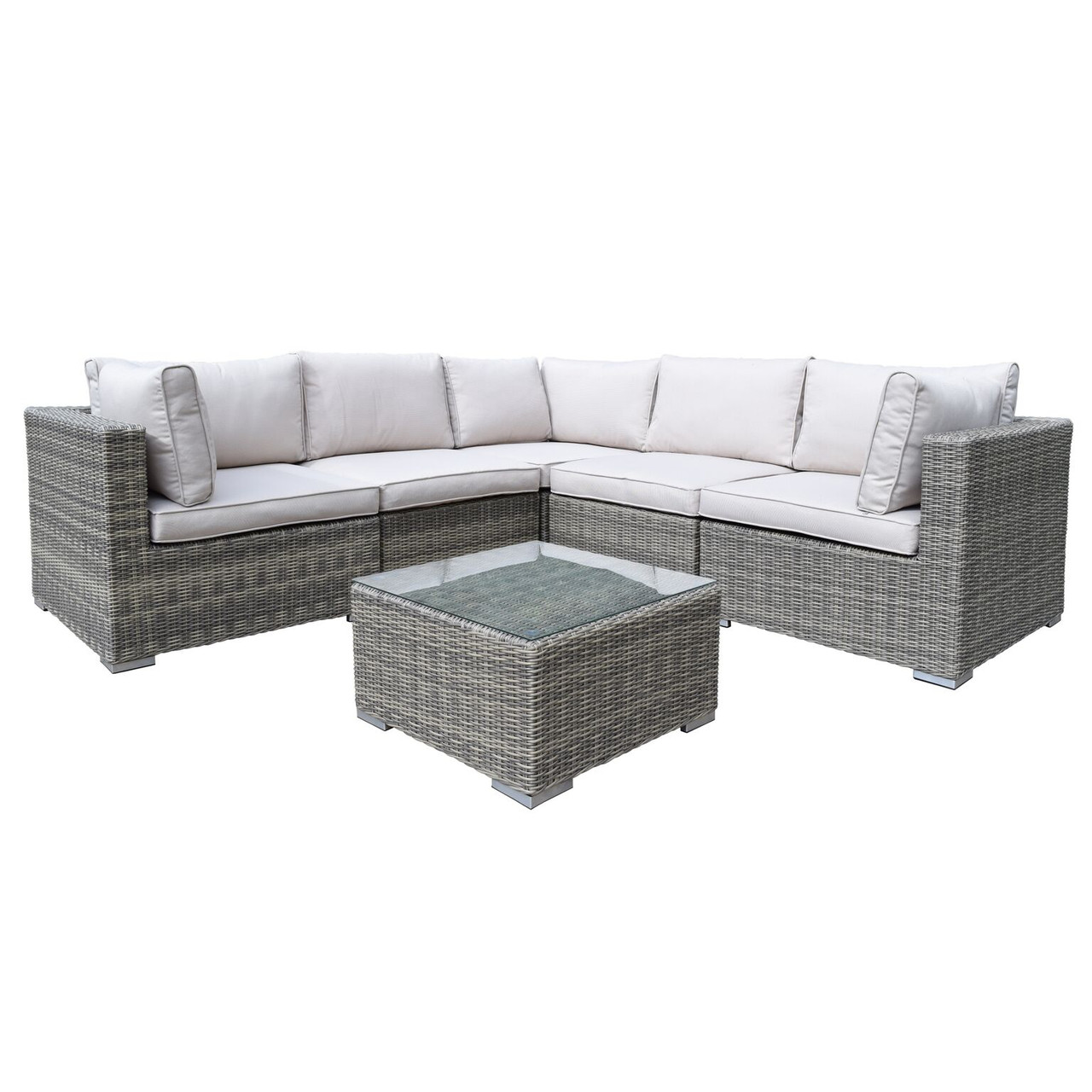 6 Piece Brown Borneo All Weather Resin Wicker Modular Sectional Set W Gray Cushions Christmas Central