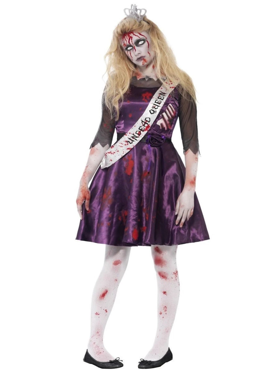 Adult Ladies Halloween Zombie Prom Queen Costume