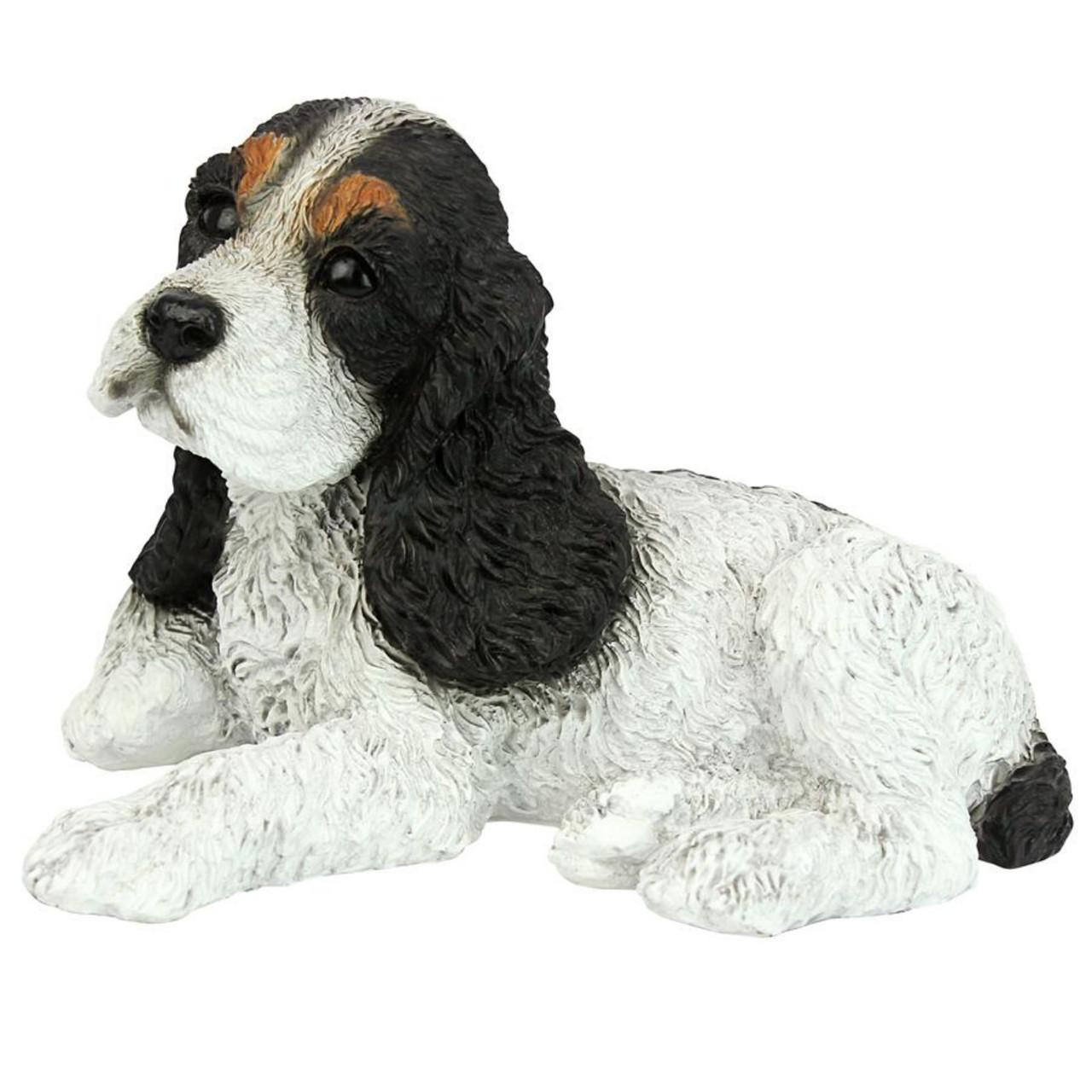 10 Sitting Black White Cocker Spaniel Puppy Dog Statue Christmas Central