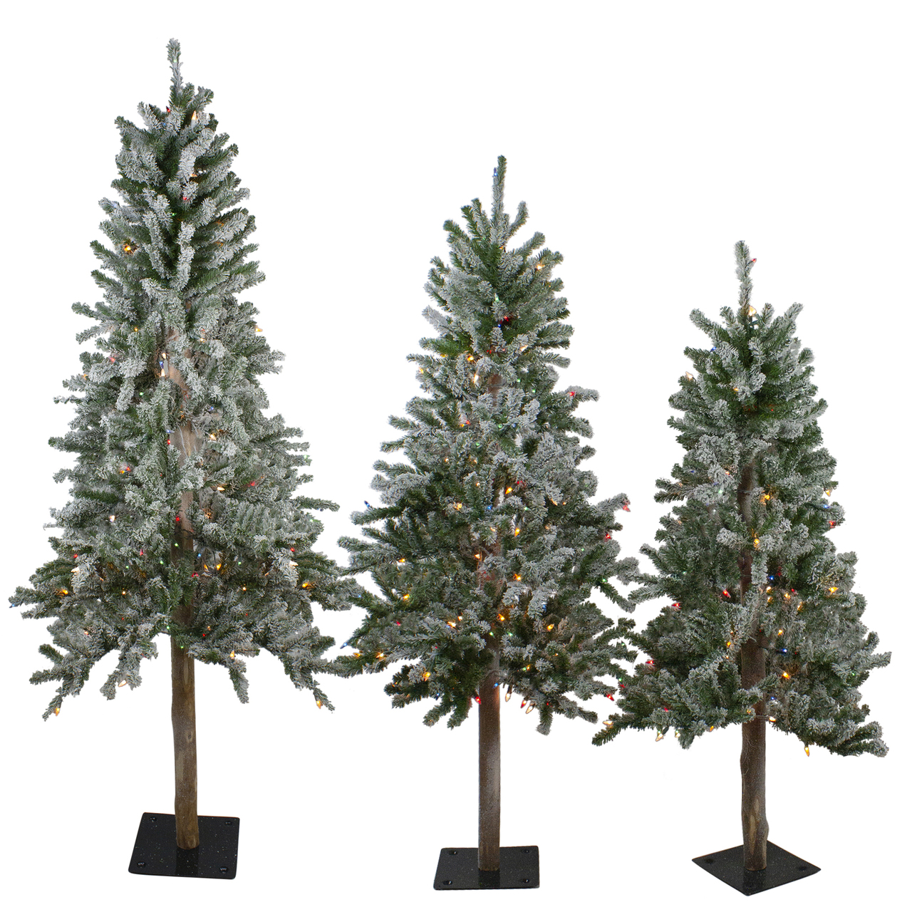 Set Of 3 Pre Lit Slim Flocked Alpine Artificial Christmas Trees 6 Multicolor Lights Christmas Central