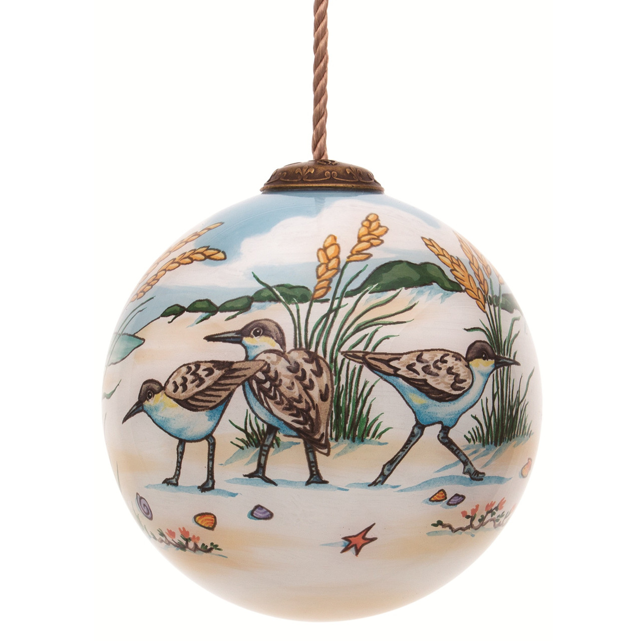 3 Beige Green Sandpipers Hand Painted Mouth Blown Glass Hanging Christmas Ornament Christmas Central