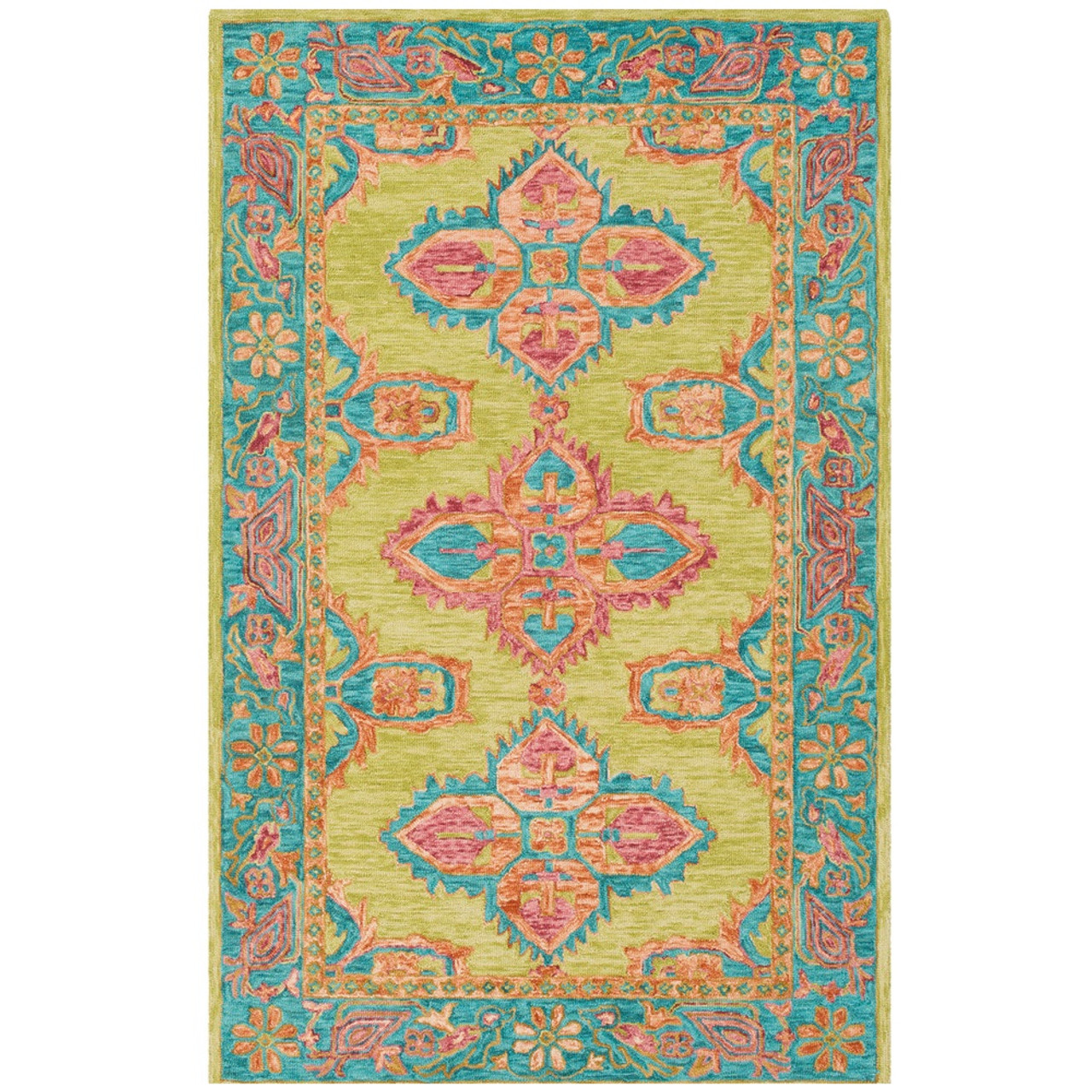 Picture of: 2 X 3 Blue Green Floral Pattern Rectangular Hand Hooked Area Rugs Christmas Central