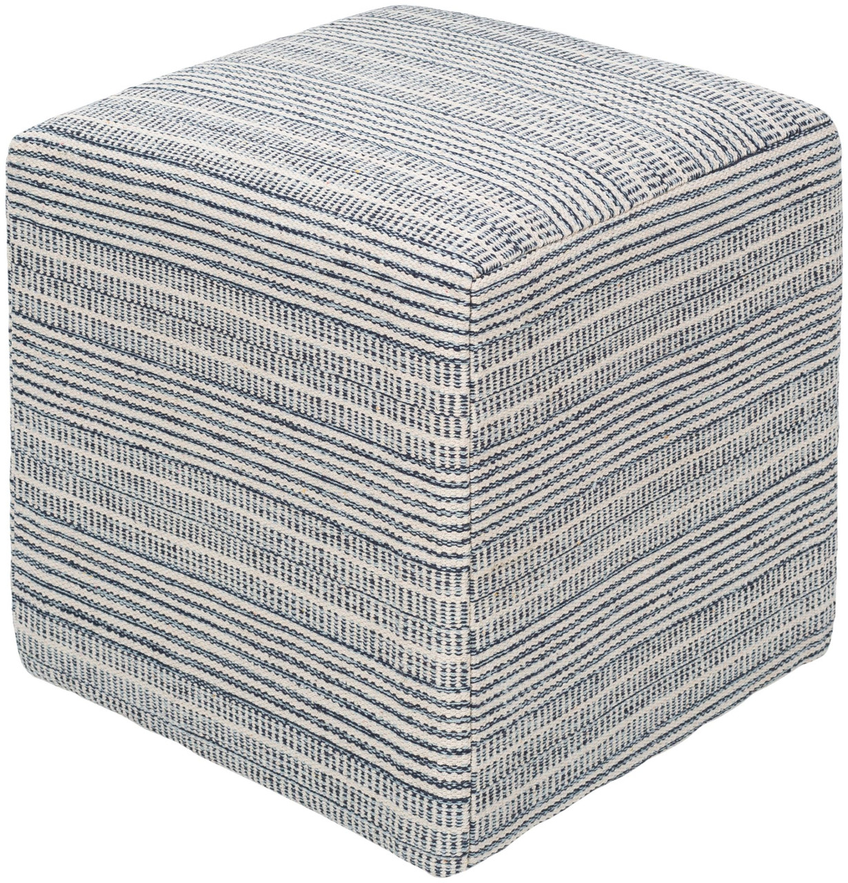 18 Blue White Striped Square Pouf Ottoman Christmas Central