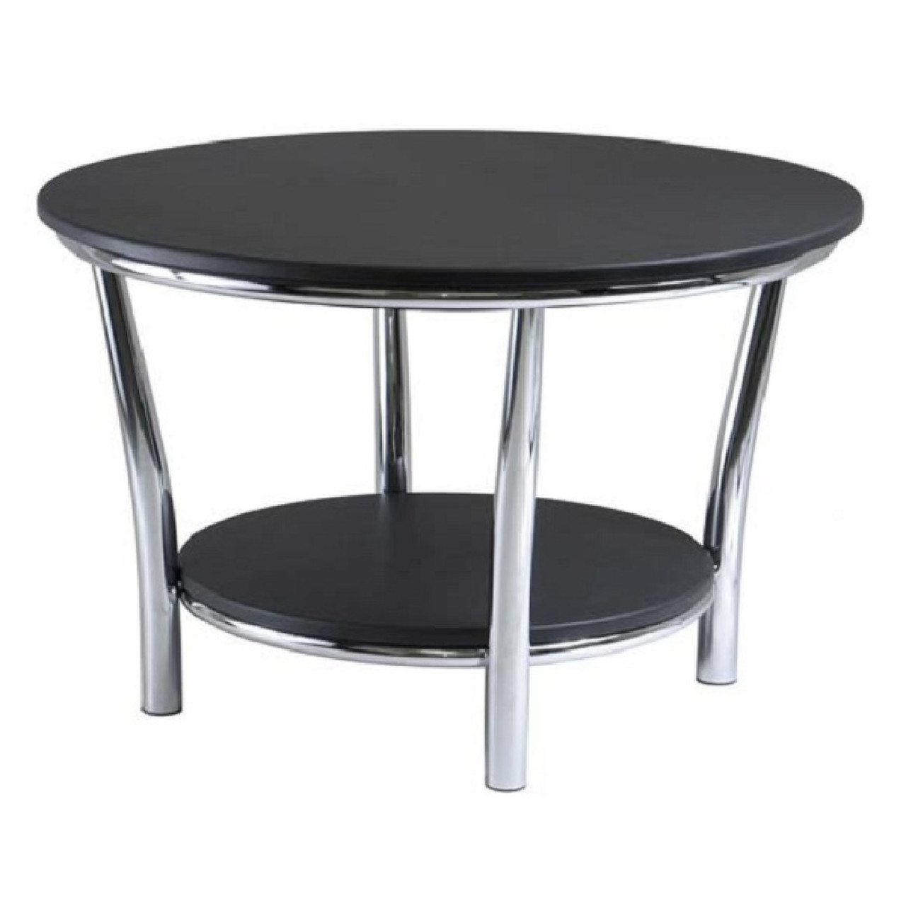 Picture of: 19 Black Silver Maya Round Wooden Coffee Table With Metal Frame Christmas Central