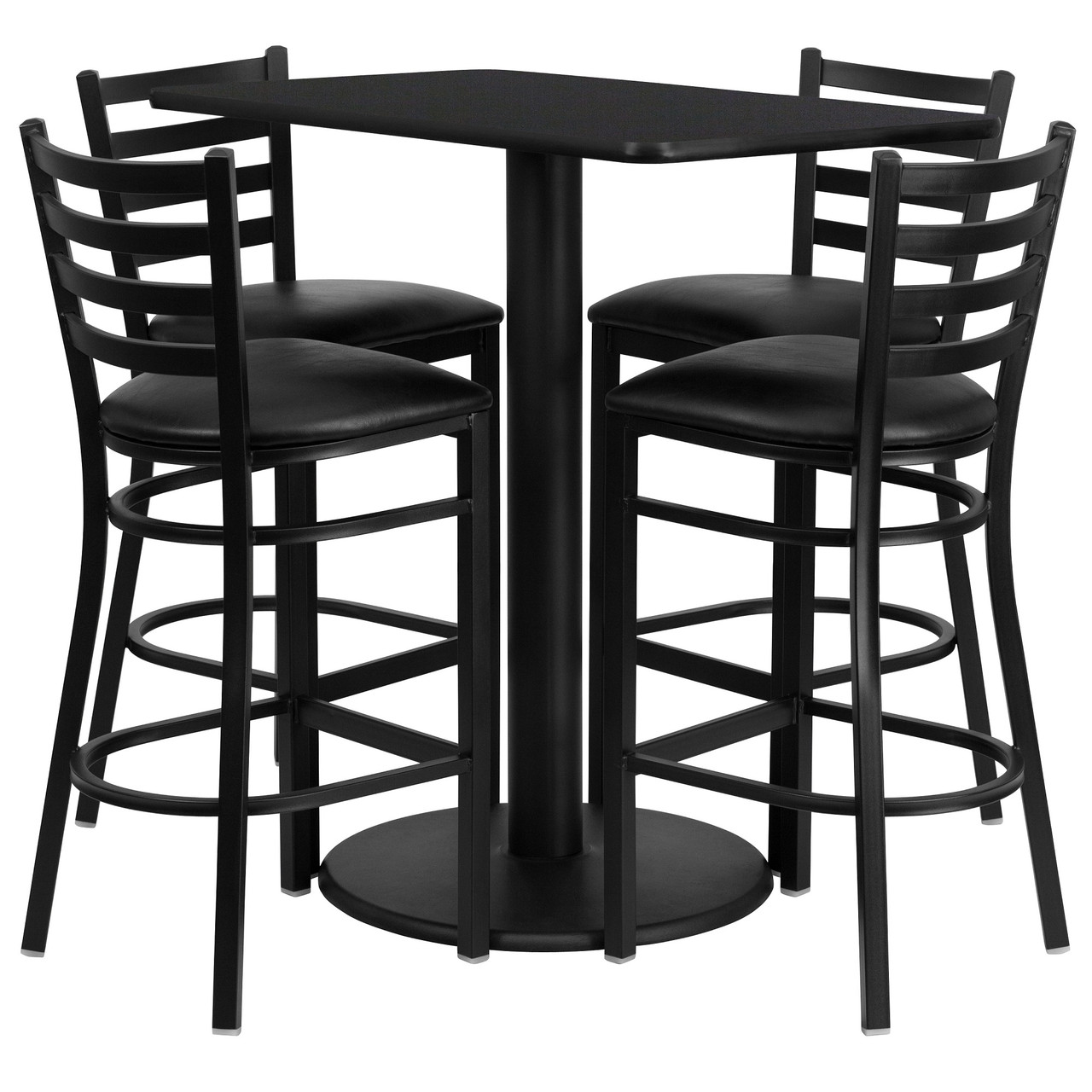 5 Piece Black Outdoor Furniture Patio Rectangular Table With Ladder Back Bar Stools 36 Christmas Central