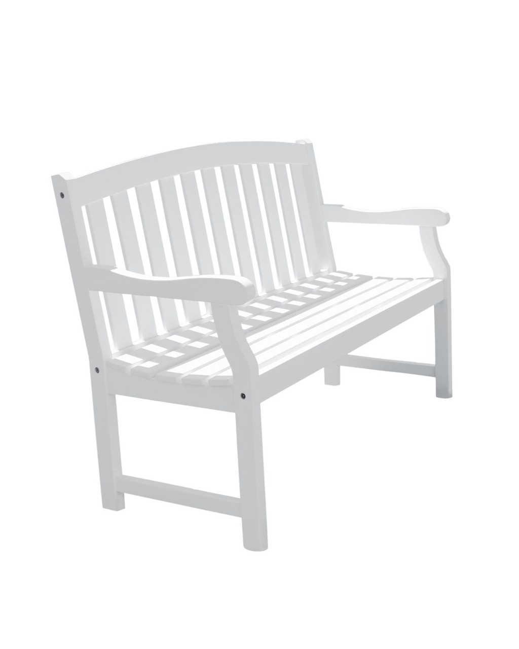 57 White Painted Finish Curved Back Outdoor Furniture Patio Bench Christmas Central