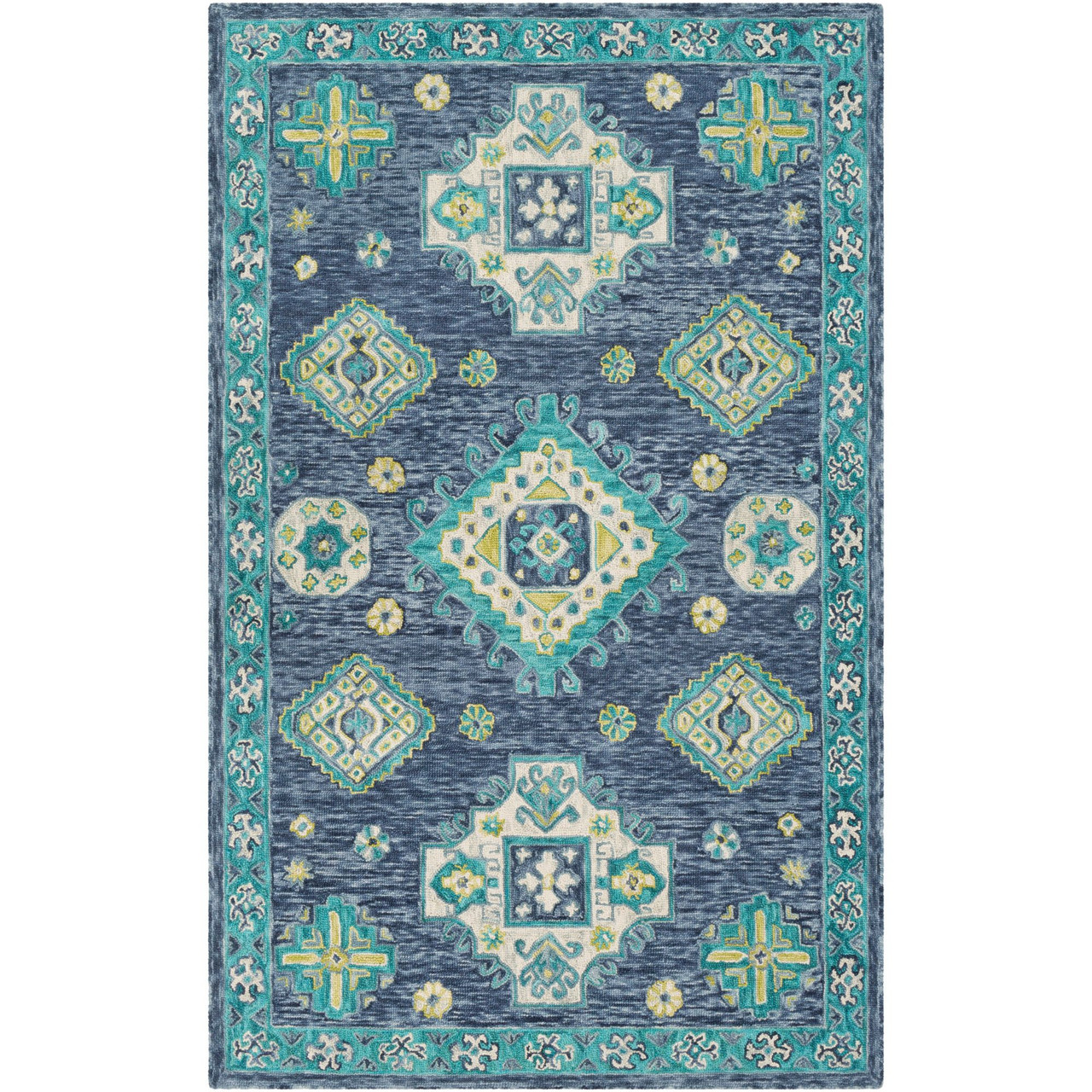 Picture of: 8 X 10 Blue Green Persian Design Rectangular Hand Tufted Area Rug Christmas Central