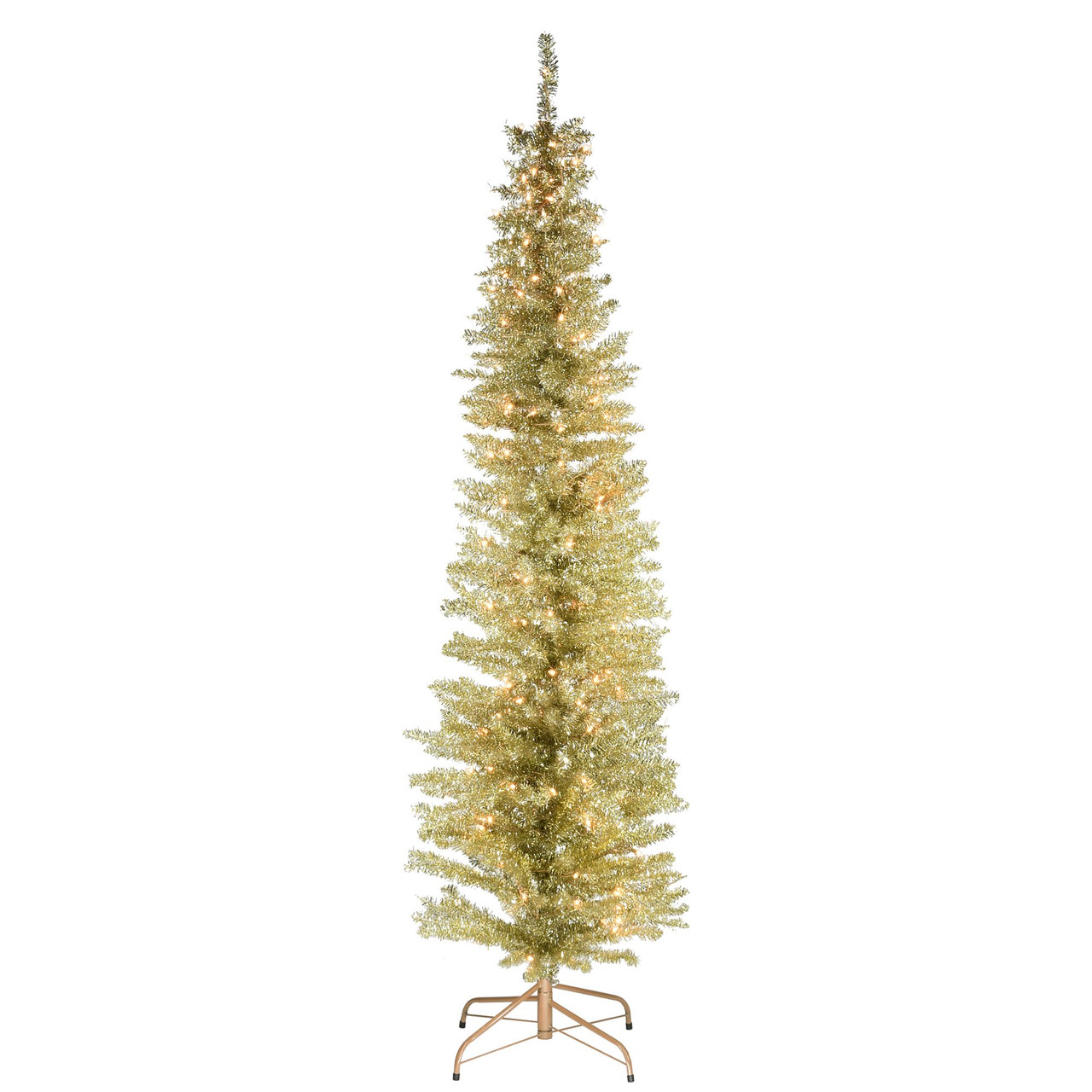 6 Pre Lit Pencil Champagne Gold Tinsel Artificial Christmas Tree Clear Lights Christmas Central